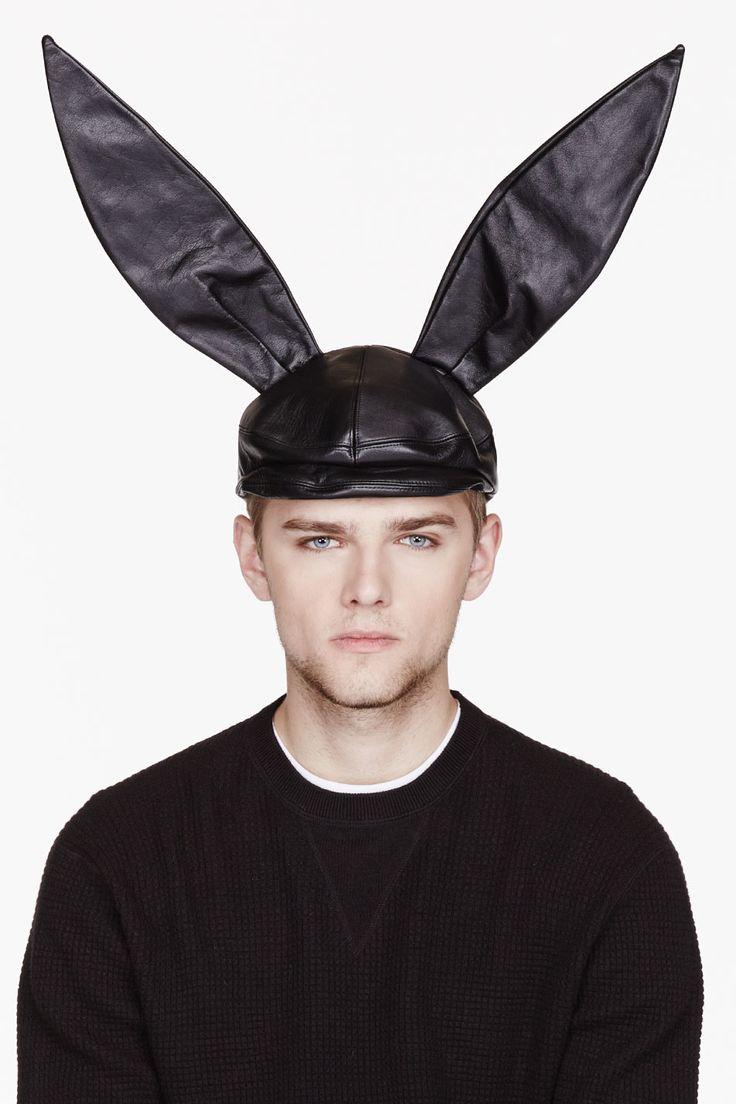 COMME DES GARÇONS HOMME PLUS Black Leather pageboy Bunny ...