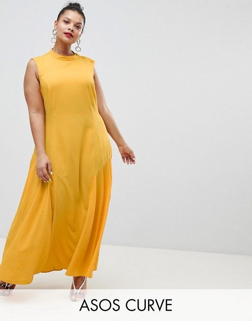 127b91451f7 DESIGN Curve maxi dress with pleat detail