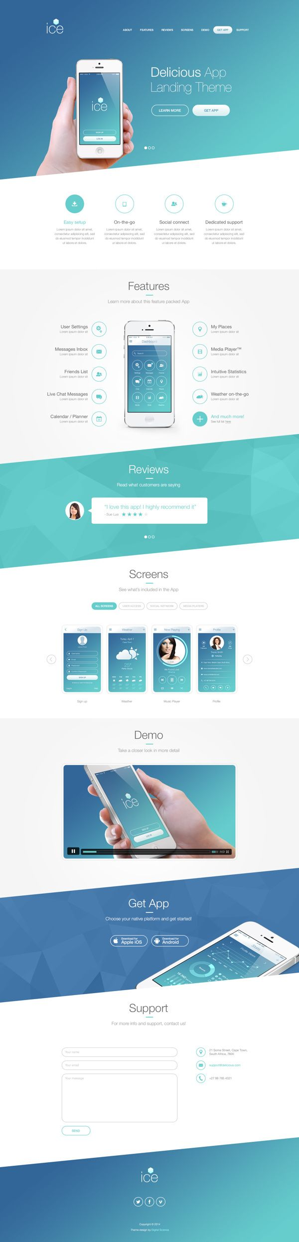 Strong diagonal flow down the page through background imagery.  Landing page theme by Pierre Marais, via Behance.