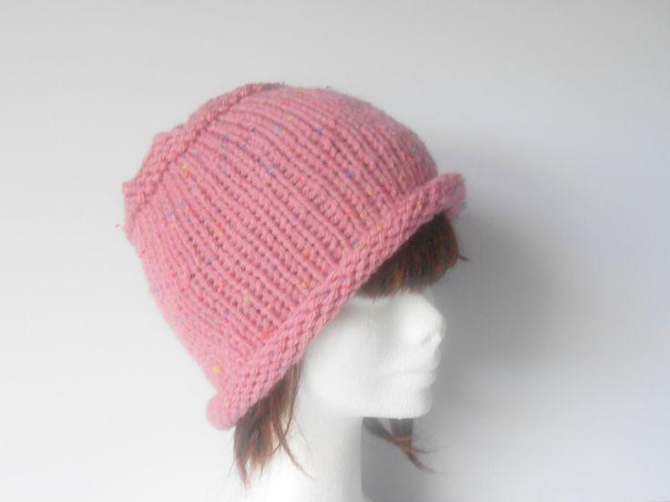 Women's knit Hat. Roll Up Brim Knit Hat. Roll Up Brim Knit Cap. Knit pink Hat. Beanie Hat. Toque wool hat. Irish hand knit tweed beanie by AluraCrafts on Etsy