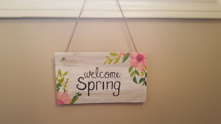 Welcome Spring!! Spring Signs http://etsy.me/2mQT21A #housewares #homedecor #painting #nursery #springsign #welcomespring #peepsake #decoration #signs