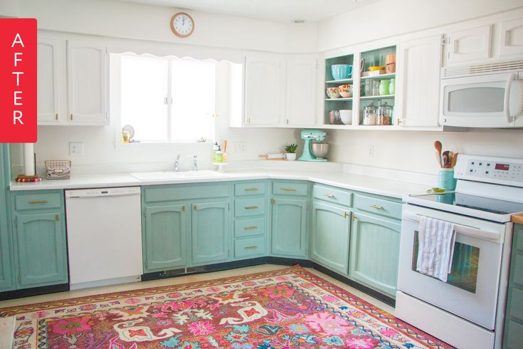Before & After: An Under $200 Creatively Colorful Kitchen Makeover