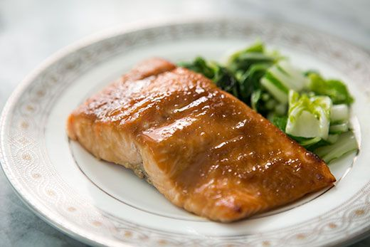 Miso Glazed Salmon ~ Salmon marinated in a mixture of miso, sake, and soy sauce, then broiled. ~ SimplyRecipes.com