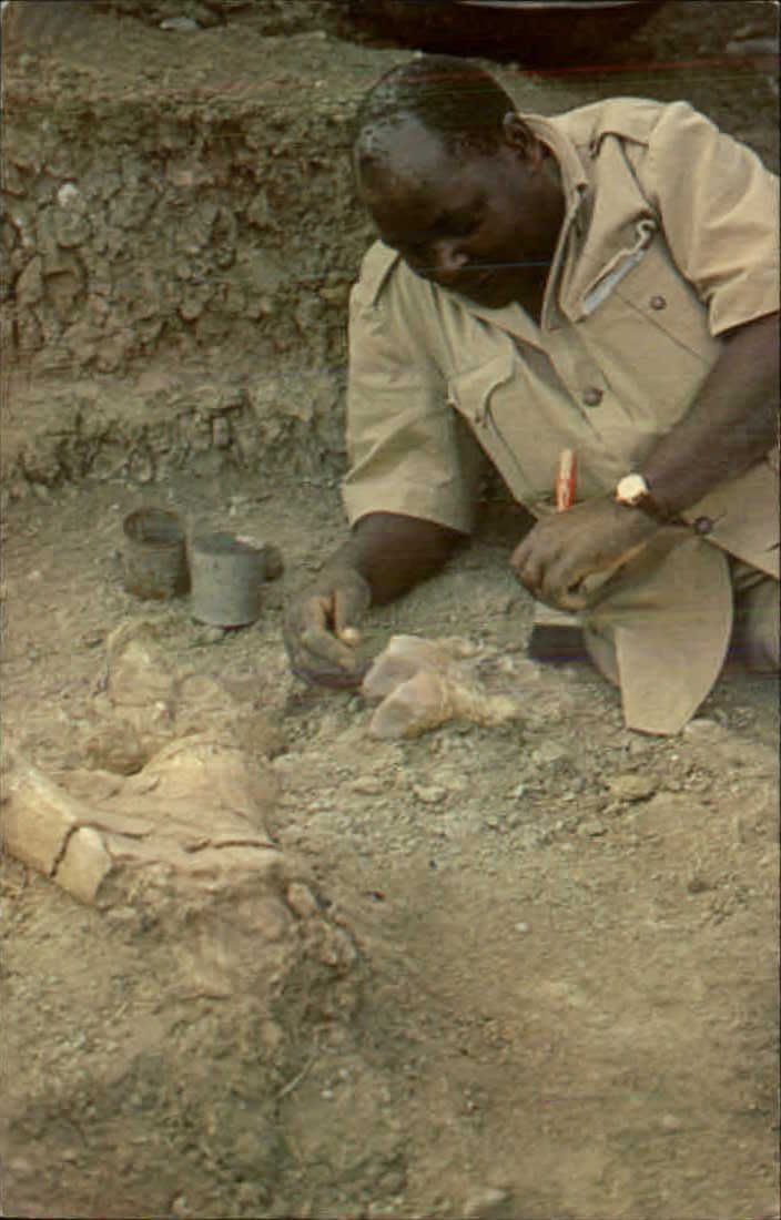 Dr. Leakey Assistant Heslon Mukiri in Olduvai Gorge Tanzania