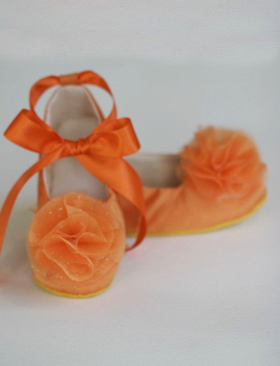 Flower Girl Ballet Flat - Orange Satin Toddler Shoe - Couture Ballet Slipper - 14 colors - Satin and Tulle - Baby Souls Baby Shoes