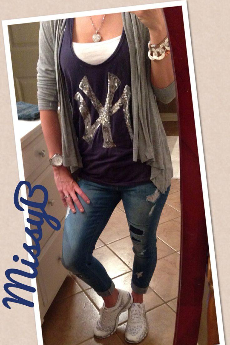 Cute New York Yankees outfit! VS Pink too, flying monkey skinny jeans, grey flyaway and white nike sneakers.