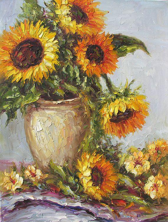 HECHO a la medida Original pintura al óleo espátula amarillo girasoles florero Bouquet textura colorida oro arte hecho a mano casa por Marchella