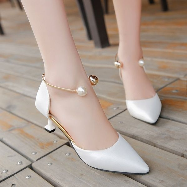 Women's Fashion Sweet Shoes With Fine Pointed High-Heeled Shoes Of Shallow Mouth All-Match Side Empty Sandals