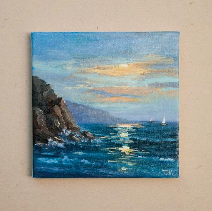 Ocean Oil Painting Original Art On Canvas Seascape Sea Landscape Mountains Cliff Clouds Coastal Beac In 2020 Small Canvas Paintings Small Canvas Art Seascape Paintings