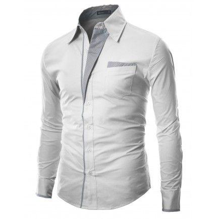 Mens Shirt Patch Point SLIM dress shirts (DS41:DOUBLJU)
