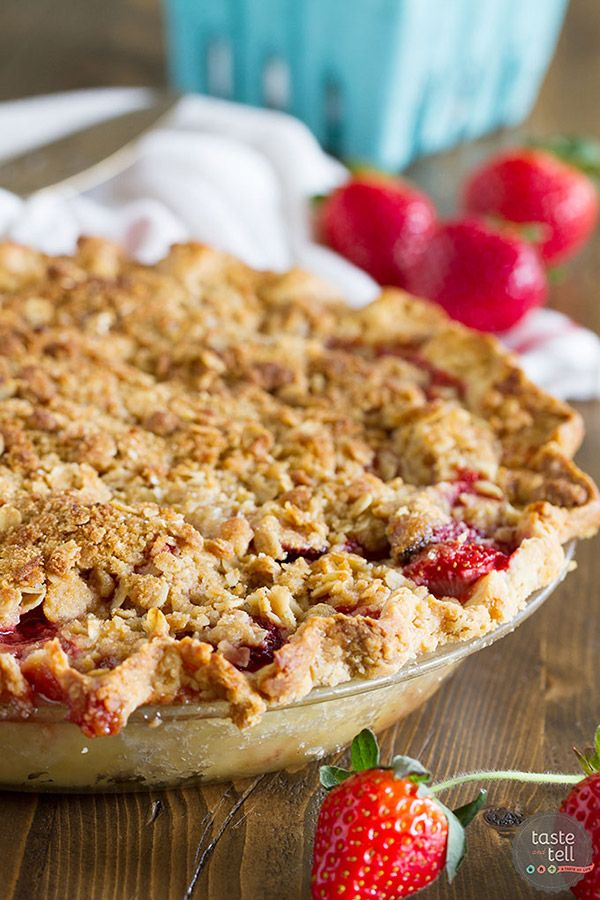 Sweet, fresh strawberries are topped with a spiced crumble topping in this Strawberry Crumble Pie that makes the perfect summertime dessert.: