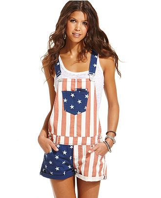 Race Weekend Perfection. A little 'Merica lovin, overall wearing hillbilly in a cute way!  #indy500 #merica #welcomeracefans ---- American Rag Juniors Shorts, Flag-Print Overalls - Juniors Pants & Capris - Macys