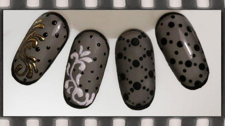 Дизайн ногтей колготки гель-лаком - 4 идеи. Маникюр черная вуаль