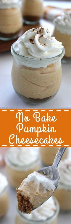 No Bake Pumpkin Cheesecakes make for a perfect individual dessert for the fall and holiday entertaining.