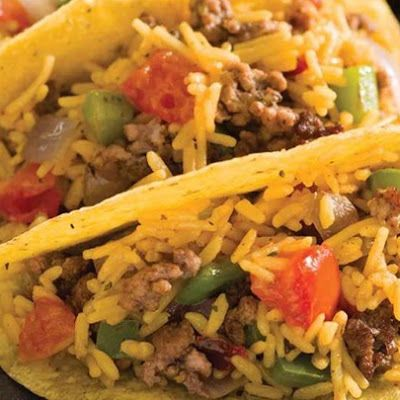 Mexican Rice and Beef Tacos @keyingredient #tacos