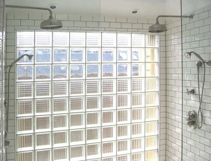 Shower idea -- subway tile with dark grout, glass panels, glass-block window
