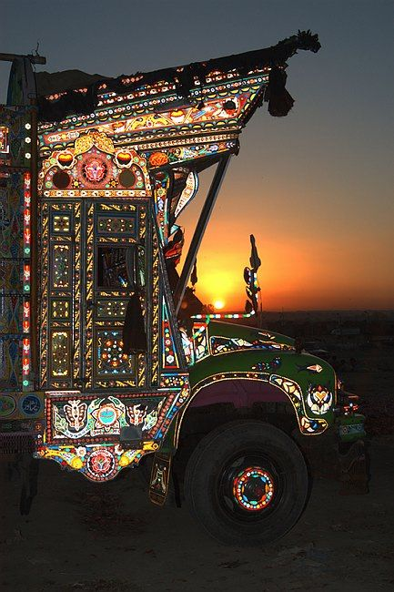 """Decorated Vehicles in Pakistan"" text by Aqeel Syed. Per Peter Grant, ""In the 1920's the Kohistan Bus Company hired Ustad Elahi Buksh, a master craftsman, to decorate their buses to attract passengers. It was not long after that truck owners followed with their own designs. Within the last few years trucks & buses have been further embellished with full lighting systems."" Post from The Wondrous Design Magazine."