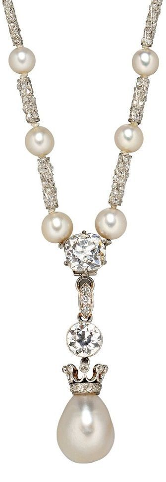 An Edwardian Natural Pearl and Diamond Necklace. The pearl drop surmounted by a crown set with old mine-cut diamonds, and a bezel-set old European-cut diamond, platinum-topped gold mount, suspended from a pearl and diamond necklace and completed by rose-cut diamond-encrusted batons.