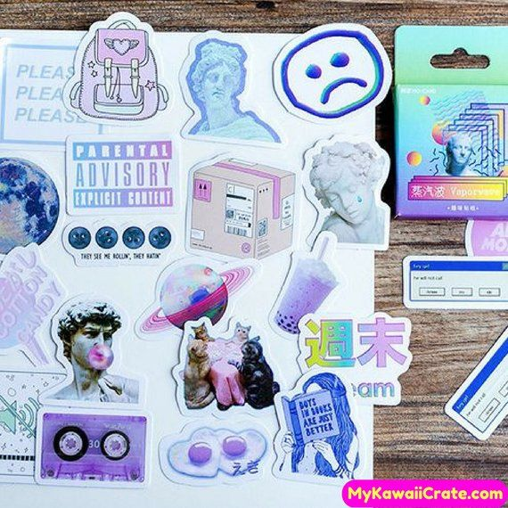 Kawaii Vaporwave Dream Decorative Stickers ~ Funny Meme Cute Sticker Pack DIY