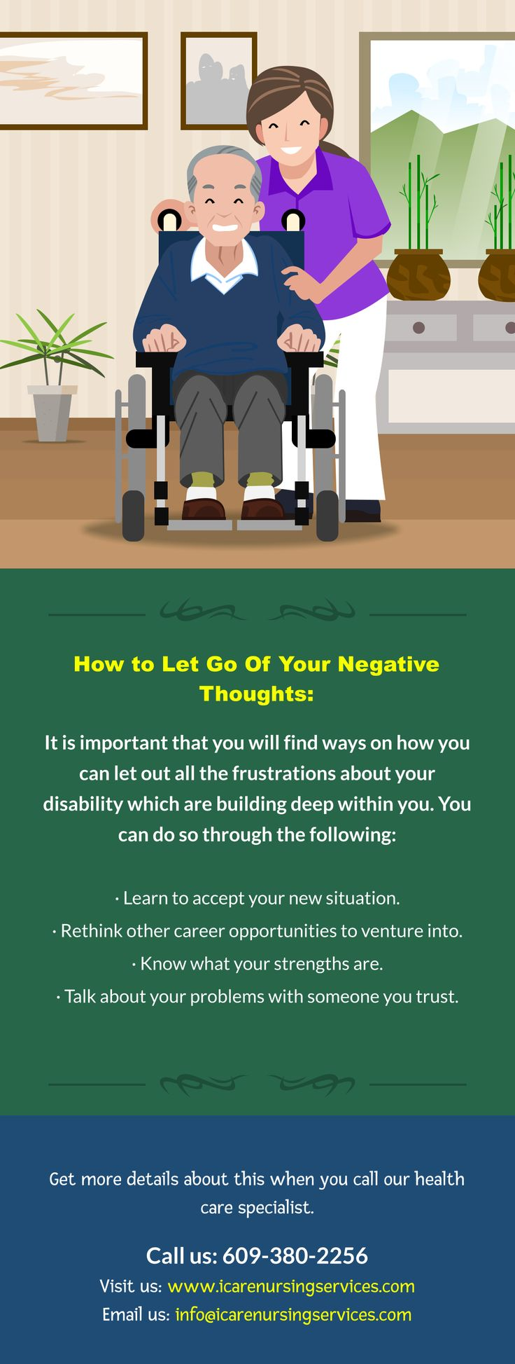 How to Let Go Of Your Negative Thoughts:  It is important that you will find ways on how you can let out all the frustrations about your disability which are building deep within you. You can do so through the following:  - Learn to accept your new situation. - Rethink other career opportunities to venture into. - Know what your strengths are. - Talk about your problems with someone you trust.  Get more details about this when you call our health care specialist. Call us: 609-380-2256 Visit…