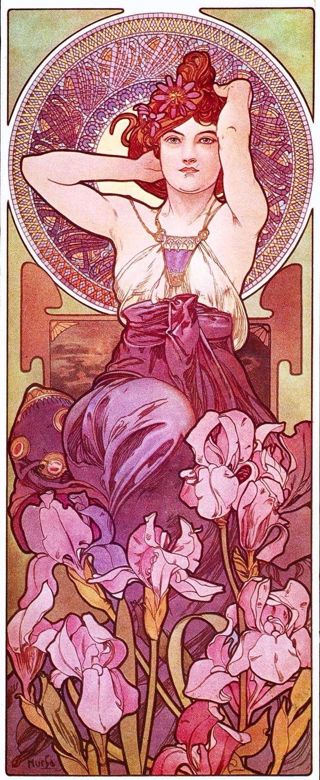 Alphonse Mucha did a series of lithographs called Precious Stones. This is Amethyst.
