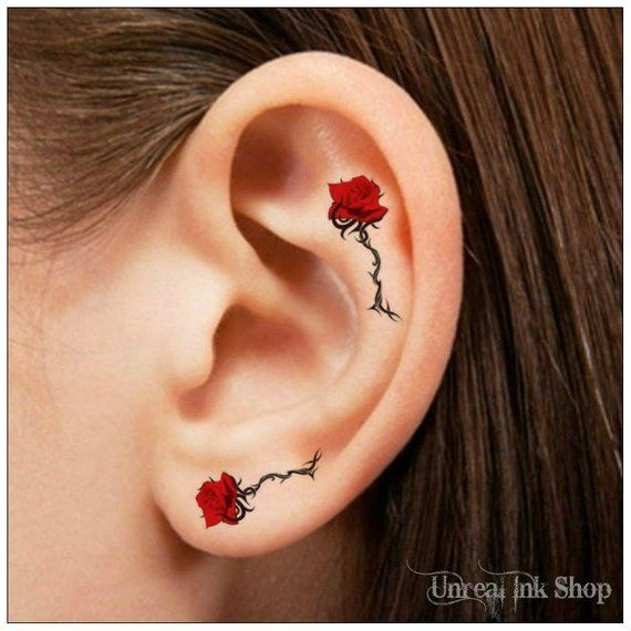 Temporary tattoo 6 rose flower ear or finger tattoos  You will receive 6 tattoos ( 3 sizes) and full instructions in a resealable bag.  Waterproof, th…