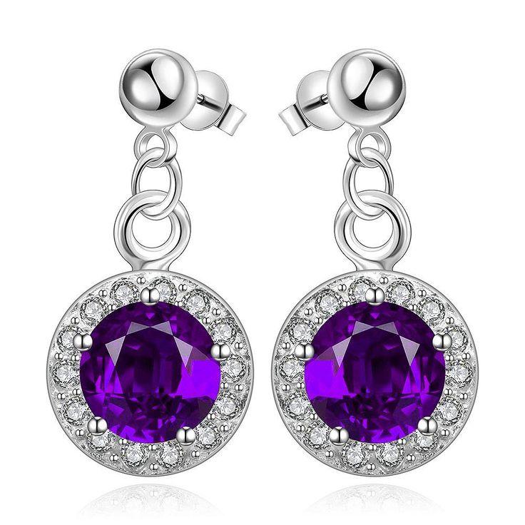 Romantic Purple Cubic Zirconia Flower Stud Earrings Trendy Piercing Women Jewelry Anting Wanita Cantik Bijoux Perak Perhiasan