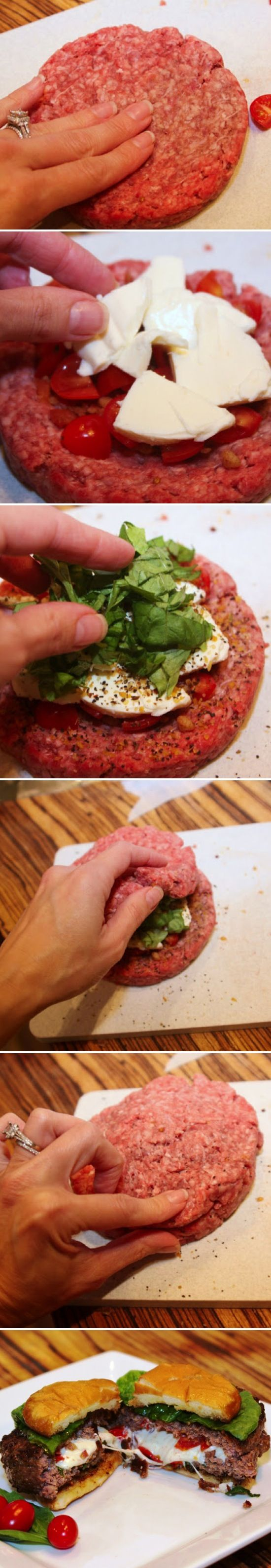 Caprese Stuffed Burgers ~ This is an Italian burger at it's best! Link to recipe on page... some great tips on how to make this burger exceptional, including how to make sure it cooks evenly