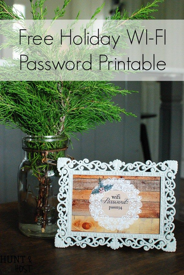 Free Holiday WIFI Password Printable. When guests are coming be prepared to answer their number one question with this free internet password printable!