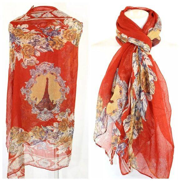 Spotted while shopping on Poshmark: B144 Brick Red Paris Marie Antoinette Flower Scarf! #poshmark #fashion #shopping #style #Boutique #Accessories