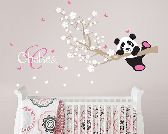 Cherry Blossom with Panda, personalised wall decal