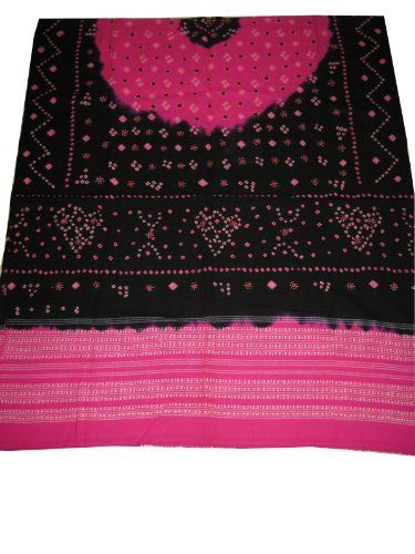 "Black Pink Bandhani Print with Mirror Embroidery Wool Shawl Wrap Throw 80""x36"" Mogul Interior. $68.99"