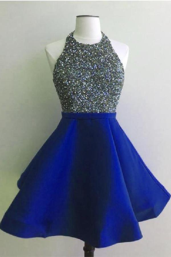 Glorioso vestidos de casamento de alta pescoço, vestidos de festa curtos, vestidos de festa azuis, casamento de costas abertas   – Kleider für Jugendliche