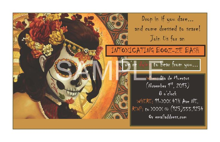 A personal favorite from my Etsy shop https://www.etsy.com/ca/listing/224852324/custom-halloween-invite-day-of-the-dead