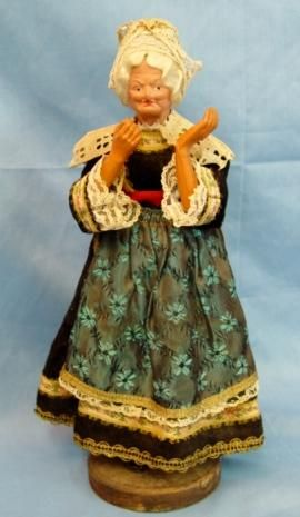 Antique Doll Paper Mache Celluloid  Character Old Lady Original Costume Fine