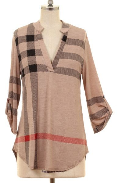Look fabulous in this comfy plaid blouse with 3 4 sleeves! Wear with jeans f3f7b1a60fc