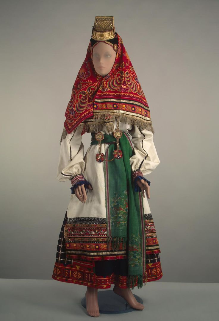Woman's costume | Russia; Voronezh Province | late 19th-early 20th century | wool, linen, chintz, silk &n metal thread, beads | The Hermitage | Inventory #: ЭРТ-16922