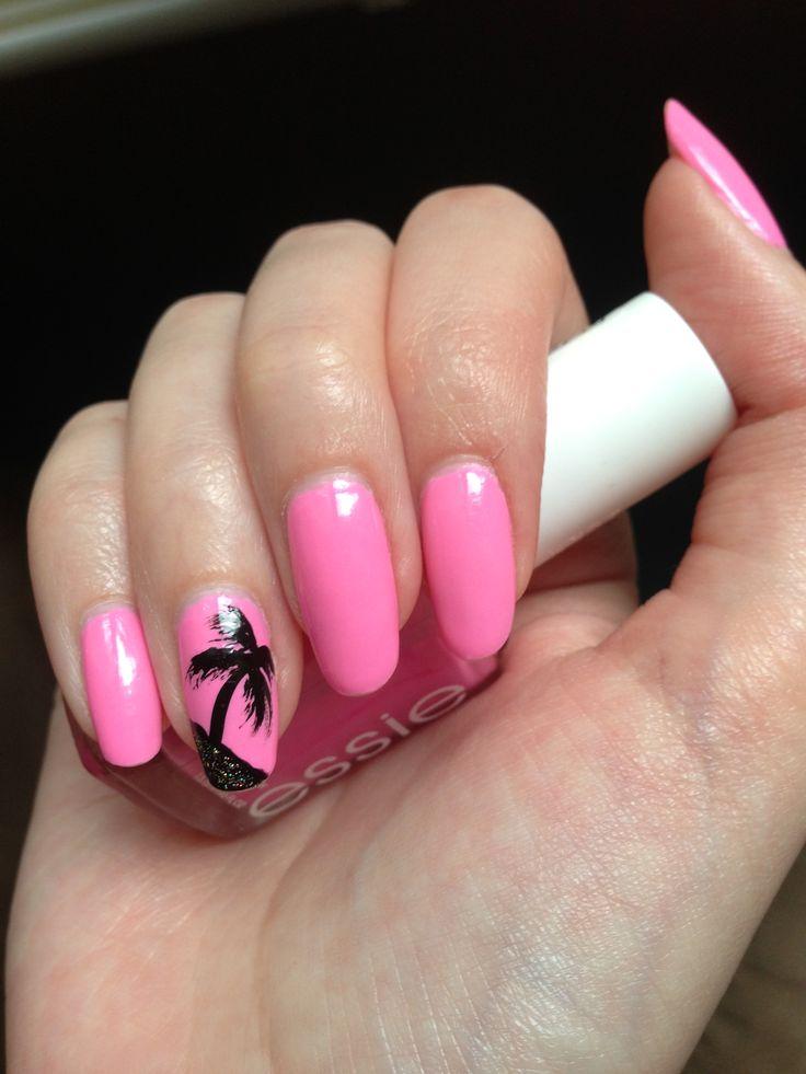 Essie Boom Boom Room bright pink nail polish with palm ...