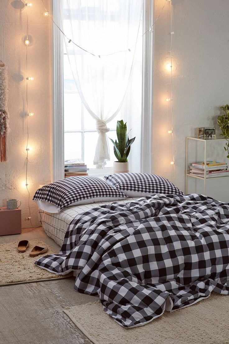Caroline Okun For Deny Ebony Gingham Duvet Cover | Urban Outfitters
