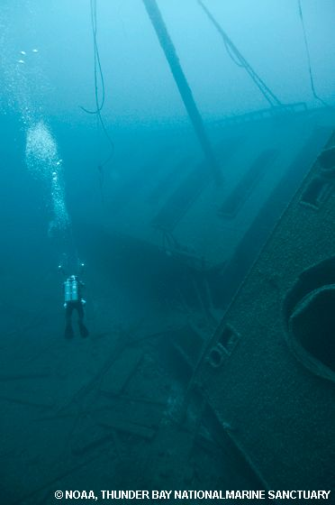 At 210-feet deep with water temperatures hovering between 38 to 45°F, the Norman is one of the most challenging technical dives in Shipwreck Alley. This treacherous stretch of Lake Huron, just outside of Thunder Bay, claimed hundreds of ships throughout the 19th and early 20th century. Multifaceted wreck sites like the Norman with its huge engine, lifeboats and personal artifacts take divers back to a time when sail and steam ruled the lakes.