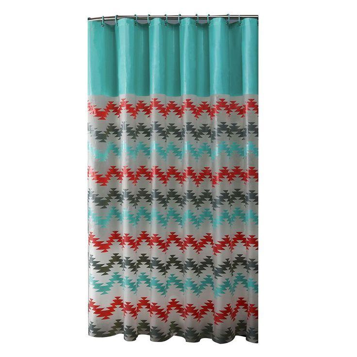 Bath Bliss Chevron Shower Curtain Set, Turquoise/Blue (Turq/Aqua)
