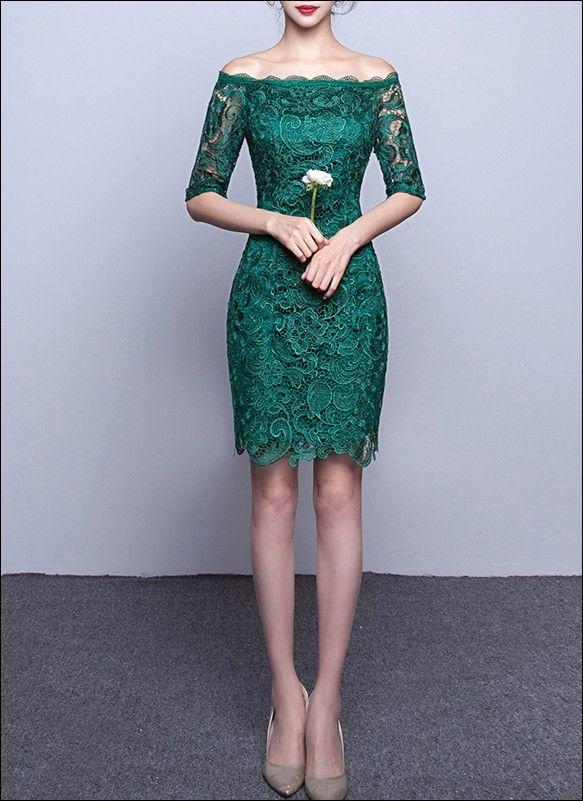 Standesamt Kleid: Grünes Etui Cocktailkleid aus Spitze mit Ärmeln