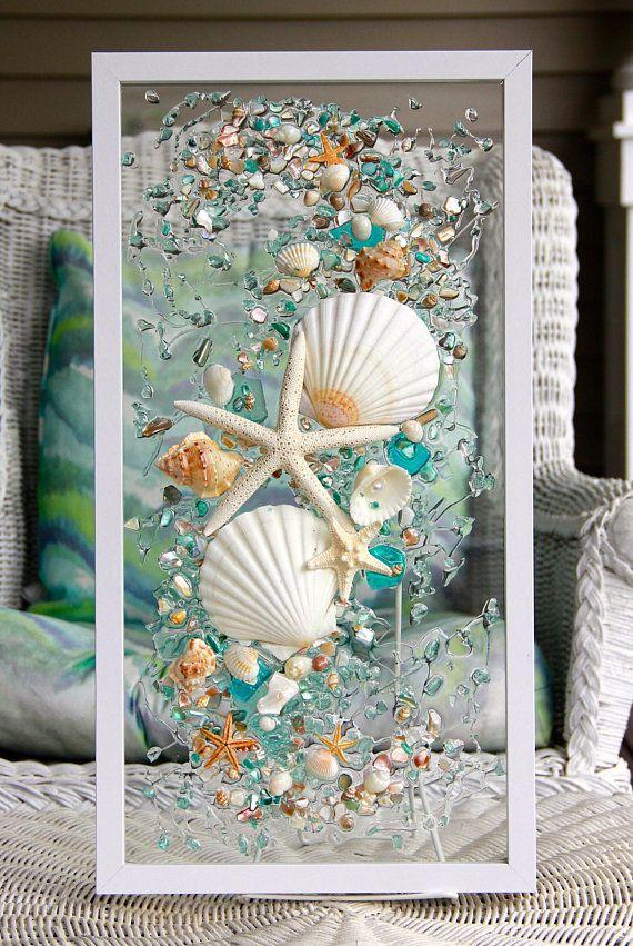 Sea Glass Art For Beach Decor Seashell Wall Art For Nautical Etsy Seashell Wall Art Sea Glass Crafts Broken Glass Crafts