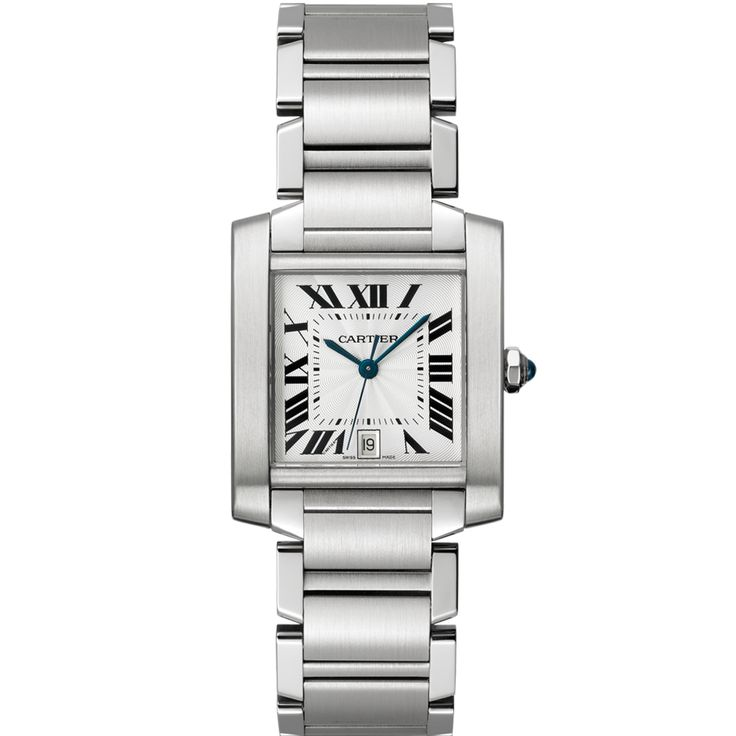Cartier Tank Française watch, large model. Automatic, steel The Tank Française has updated the legacy of the Tank wristwatch with a chain-link bracelet. The curved case, boldly set at the center of the bracelet to seamlessly mimic its lines, introduces a new Tank family that subscribes to the same modern design aesthetic.