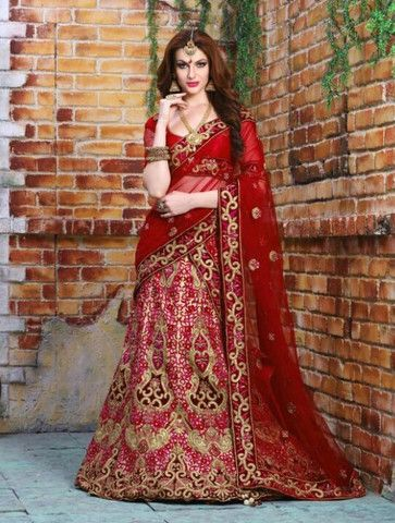 Red Velvet Embroiderd Bridal Wedding Lehenga Choli ,Indian Dresses - 1