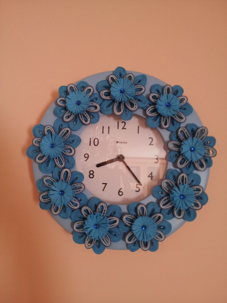 paper quilling decorated wall clock cd photo frame or
