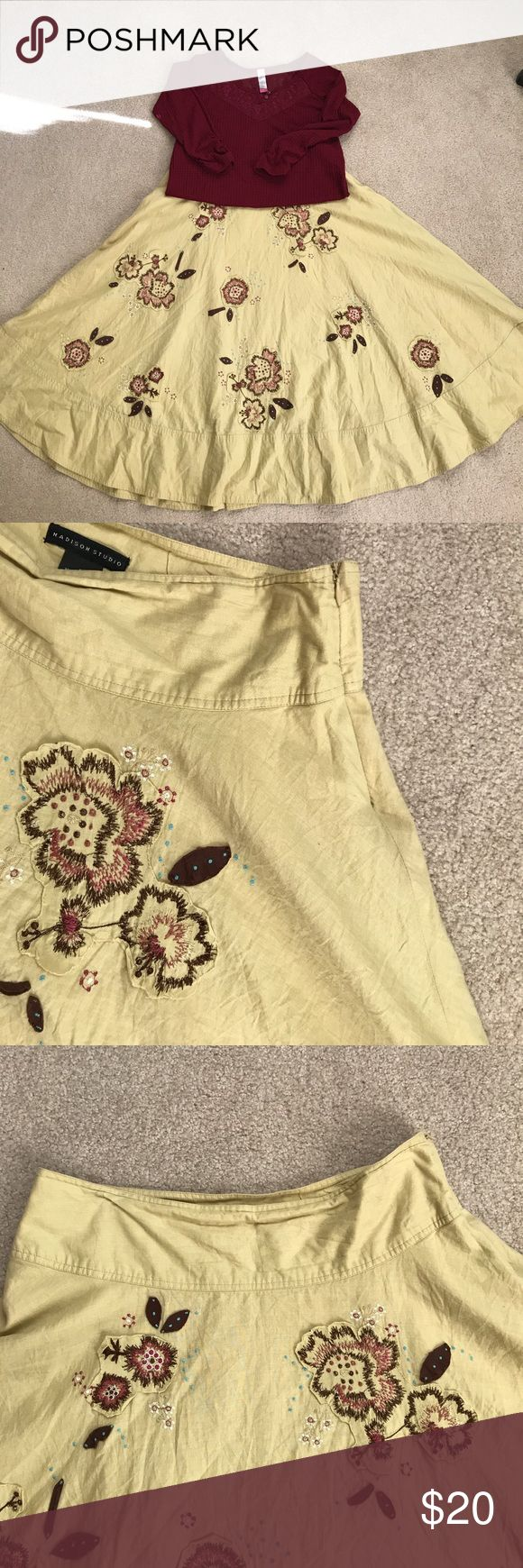Fall outfit! Lace Henley & full midi Floral Skirt Skirt is 100% cotton with a satin liner. Beige/cream with brown/wine color/cream flower embroidery. Full and flowy! Shirt is a junior size L (11-13 stretchy) ruche 3/4 inch sleeve Henley with faux buttons on the neckline and lace detail. Beautiful wine color that goes perfectly with skirt. I wore this outfit last fall with tall brown boots and a cream lace blanket scarf❤️ madison studio Skirts Midi