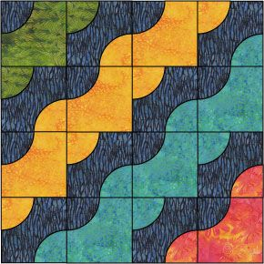 """Wave after Wave."" From various batiks by Moira Dewar and Kathy Engle for Island Batik."