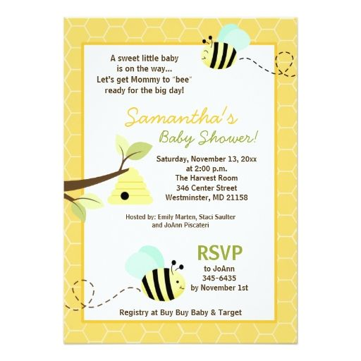Sweet Bumble Bee Mommy To Baby Shower Invite