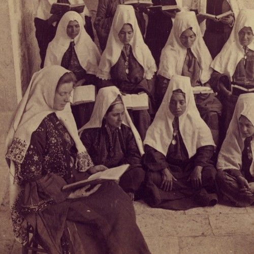 Bible class in Bethlehem, Palestine, 1900
